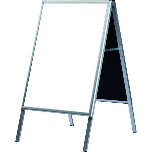 Image of   A-BOARD M/WHITEBOARD - Alu/sølv m. hvid - 60 x 80 cm