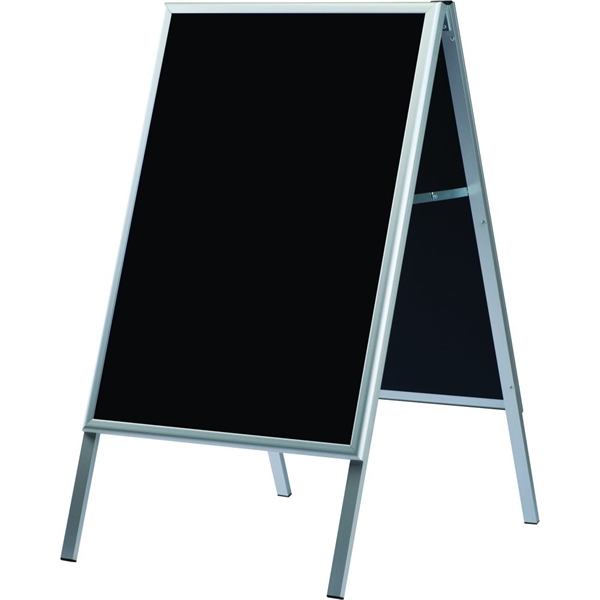Image of A-BOARD M/BLACKBOARD - Alu/sølv m. sort - 60 x 80 cm