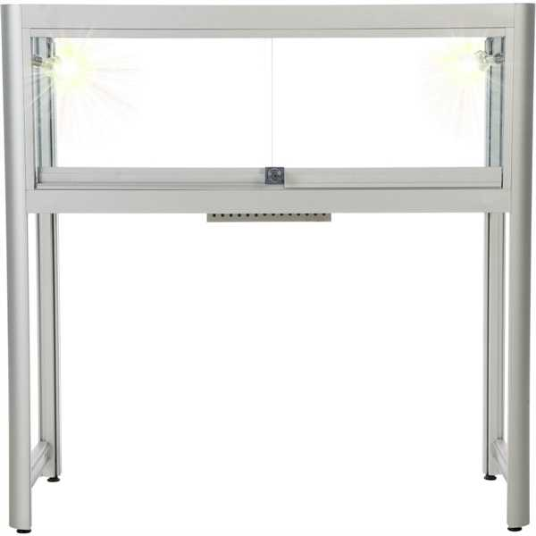 Glas vitrinedisk - 90 x 90 cm - Sølv