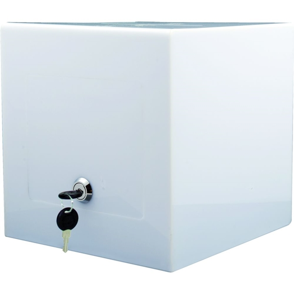 Image of   Boks til kort - klar og opal hvid - 20,5 x 20,5 x 20,5 cm