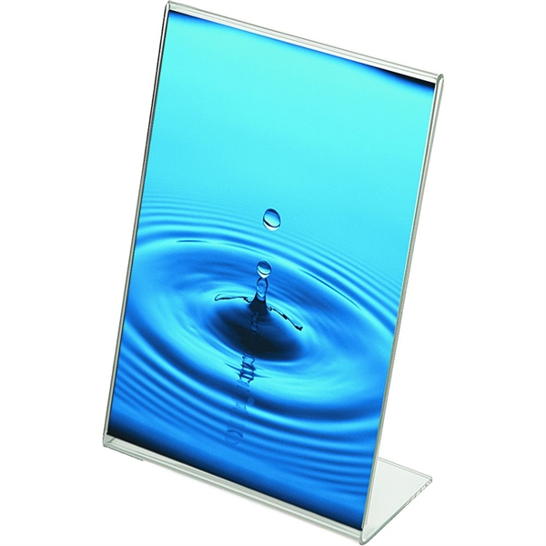 Image of   Menuholder Vertikal L-form - Akryl - Klar - A6 - 10,5x14,8cm