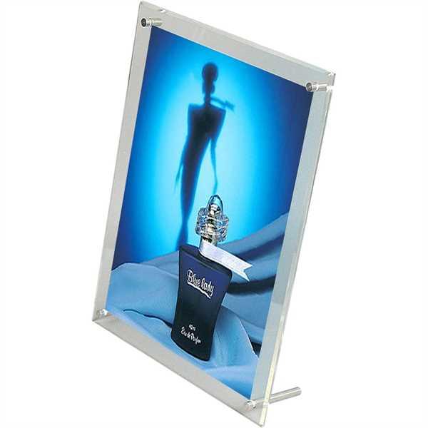 Image of   Menuholder med fødder - Dobbeltsidet - Alu/sølv - 2 x A4