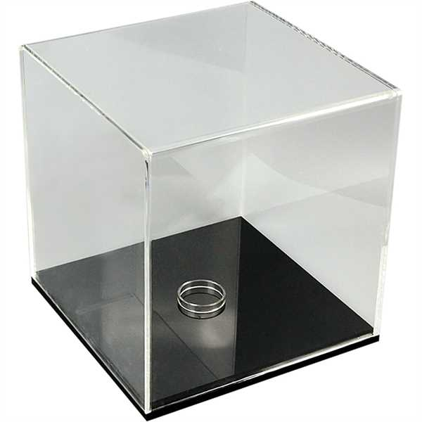 Firkantet boks - klar akryl m sort bund