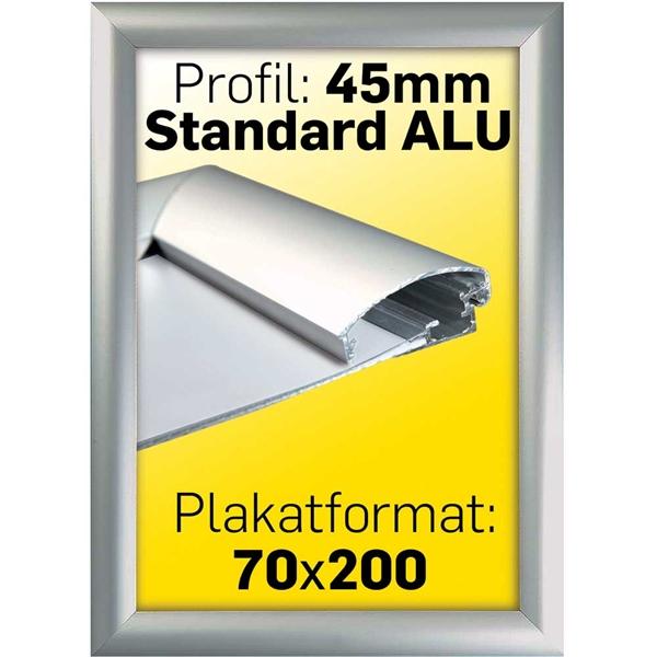 Image of   Alu Snap-Frame, væg, 45 mm Alu/elox. - Poster: 70 x 200 cm