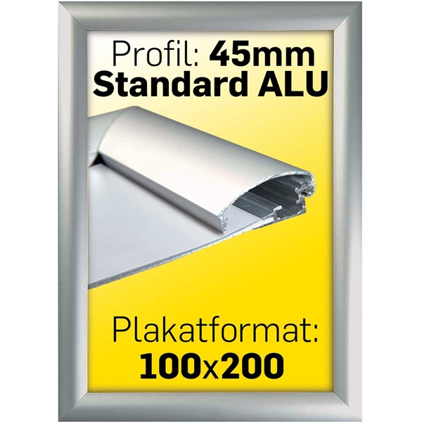 Image of   Alu Snap-Frame, væg, 45 mm Alu/elox. - Poster: 100 x 200 cm