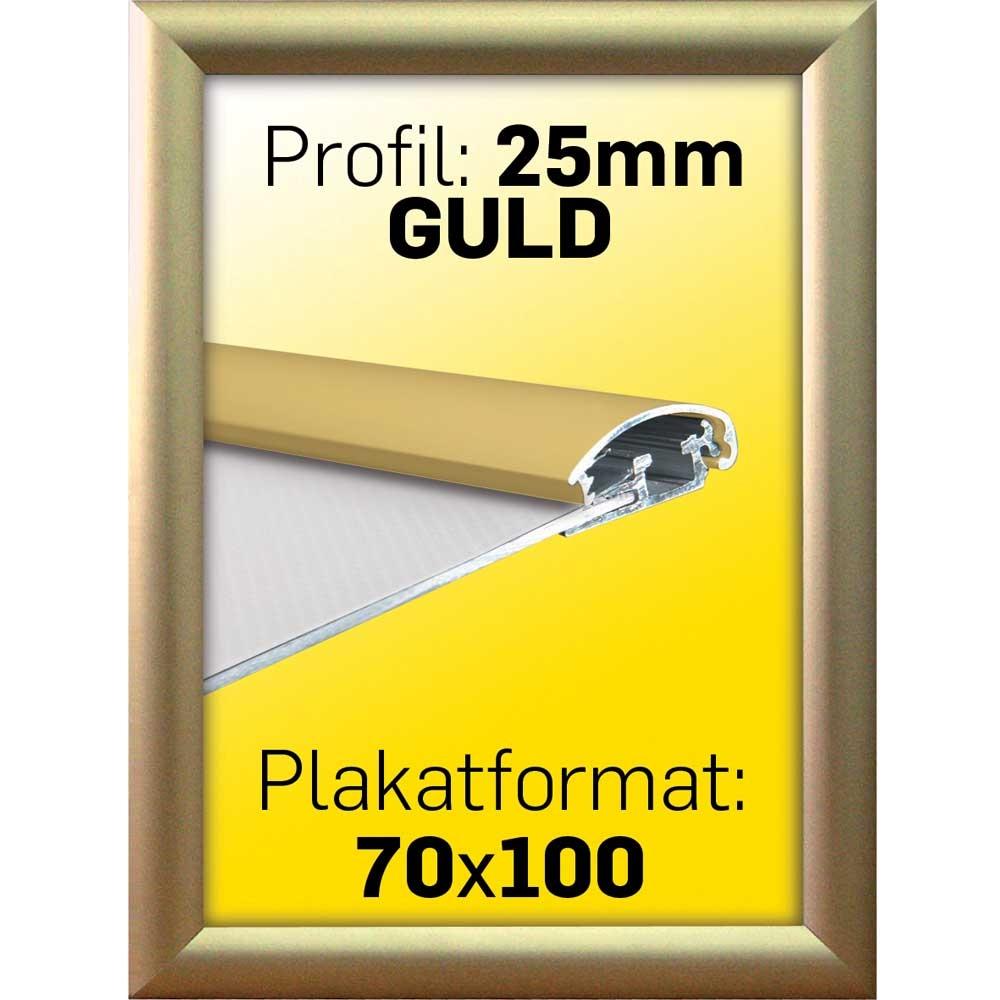 skilte gruppen snap ramme m 25 mm alu profil guldeloxeret poster 70 x 100 cm. Black Bedroom Furniture Sets. Home Design Ideas
