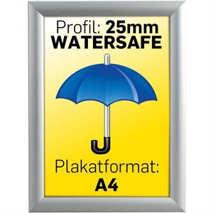 Alu Snap-Frame Watersafe, væg, 25 mm Alu  - Poster: A4 - 21 x 29,7 cm
