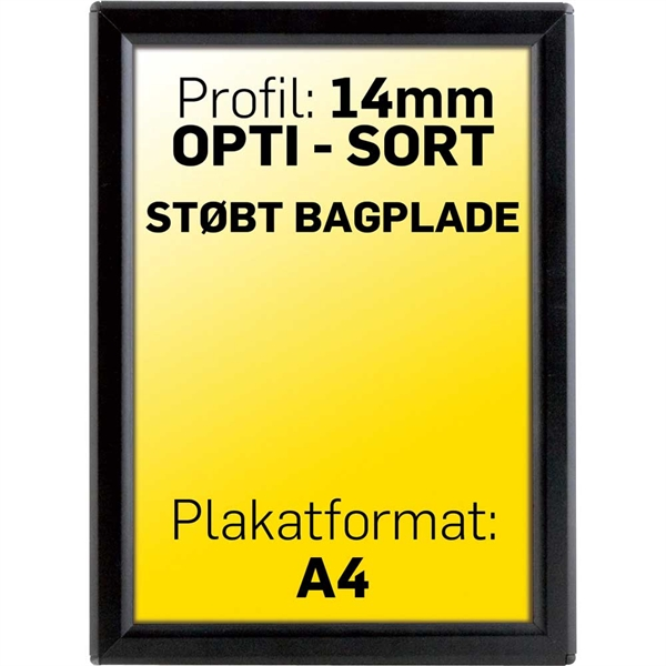 Image of   Alu klapramme 14 mm profil Opti Frame sort A4