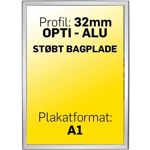 Image of   Alu klapramme 32 mm profil Opti Frame Sølv A1