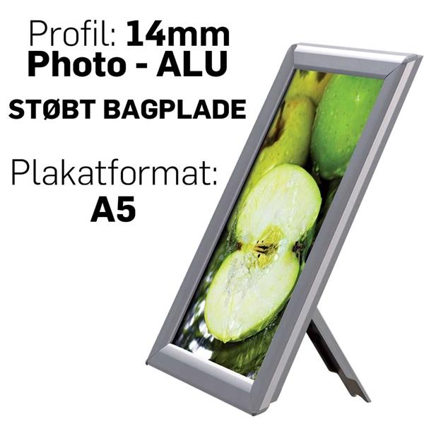 Photo Snap-Frame, 14 mm med bagstøtte Alu - Poster: A5 - 14,8 x 21 cm