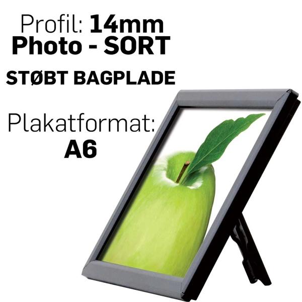 Photo Snap-Frame, 14 mm med bagstøtte  SORT  - Poster: A6 - 10,5 x 14,8 cm