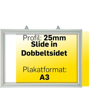 SLIDE-IN FRAME HORIZONTAL 25mm Alu/elox. - A3 - 30x42cm