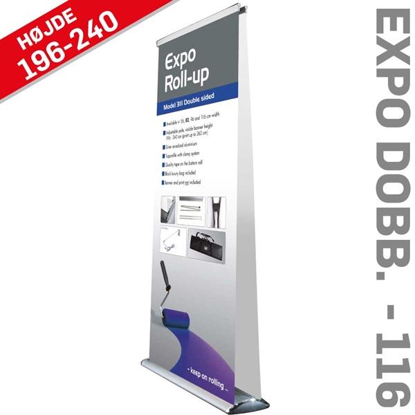 Roll-Up Expo - Dobbeltsidet - Alu/sølv - 116 x 216-260 cm