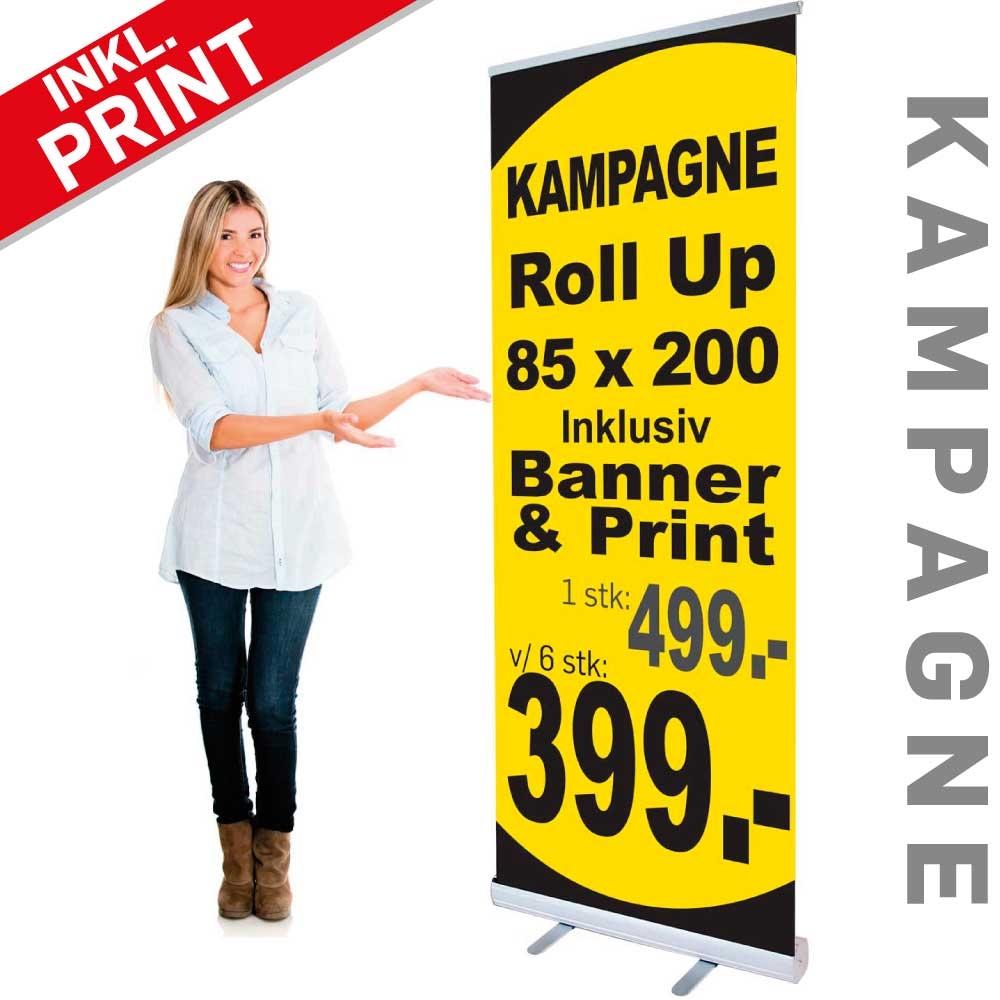 skilte gruppen roll up med banner og print 85 x 200 cm kampagne. Black Bedroom Furniture Sets. Home Design Ideas
