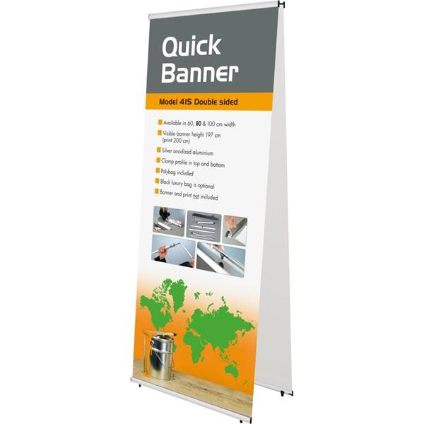 QUICK BANNER dobbelt Alu/elox. - 60x200 cm Banner