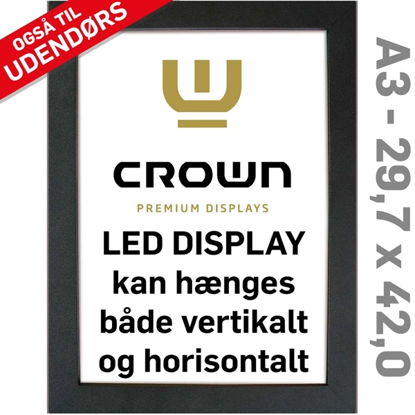 Image of   CROWN LED Out box - Enkeltsidet - Sort/Alu - 29,7 x 42 cm A3