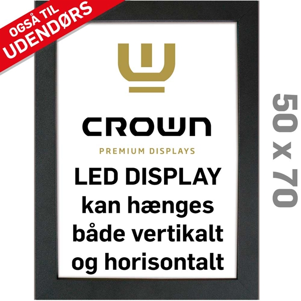 Image of   CROWN LED Out box - Enkeltsidet - Sort/Alu - 50 x 70 cm