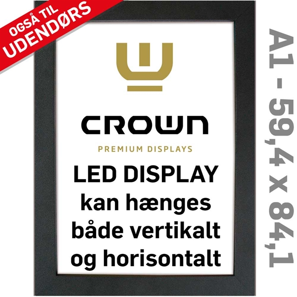 Image of   CROWN LED Out box - Enkeltsidet - Sort/Alu - 59,4 x 84,1 cm A1