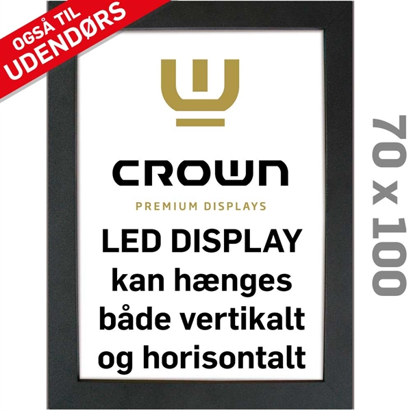 Image of   CROWN LED Out box - Enkeltsidet - Sort/Alu - 70 x 100 cm
