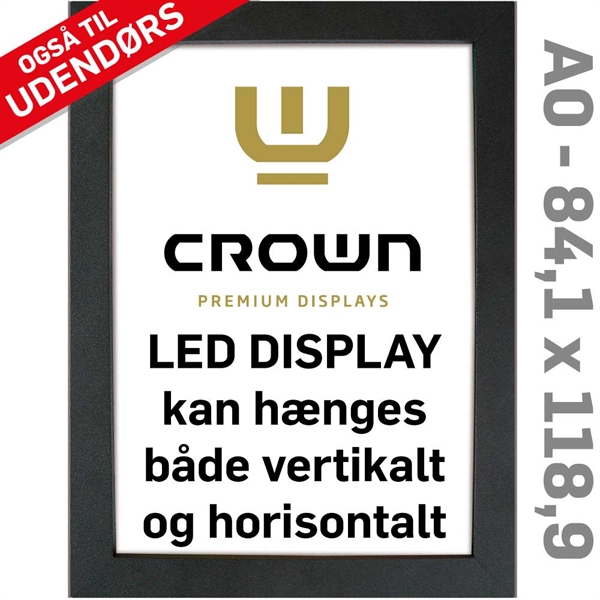Image of   CROWN LED Out box - Enkeltsidet - Sort/Alu - 84,1 x 118,9 cm A0