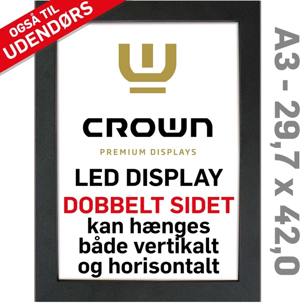 Image of   CROWN LED Out box - Dobbeltsidet - Sort/Alu - 29,7 x 42 cm A3