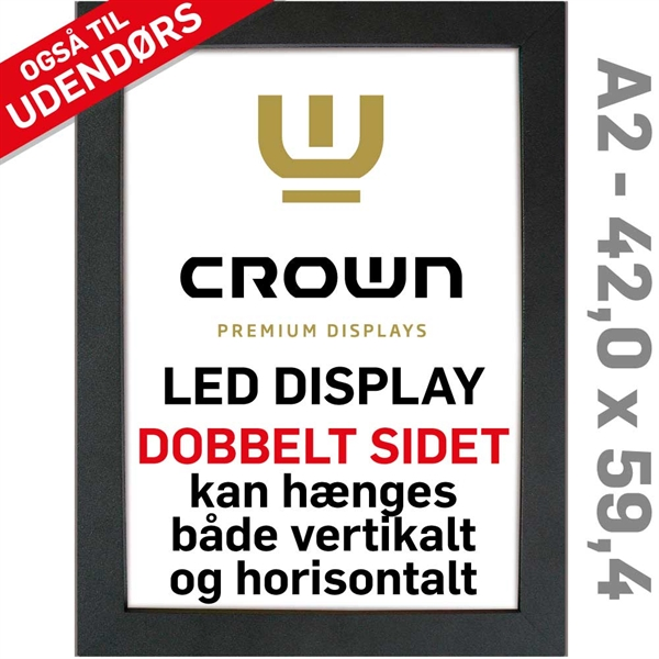 Image of   CROWN LED Out box - Dobbeltsidet - Sort/Alu - 42 x 59,4 cm A2