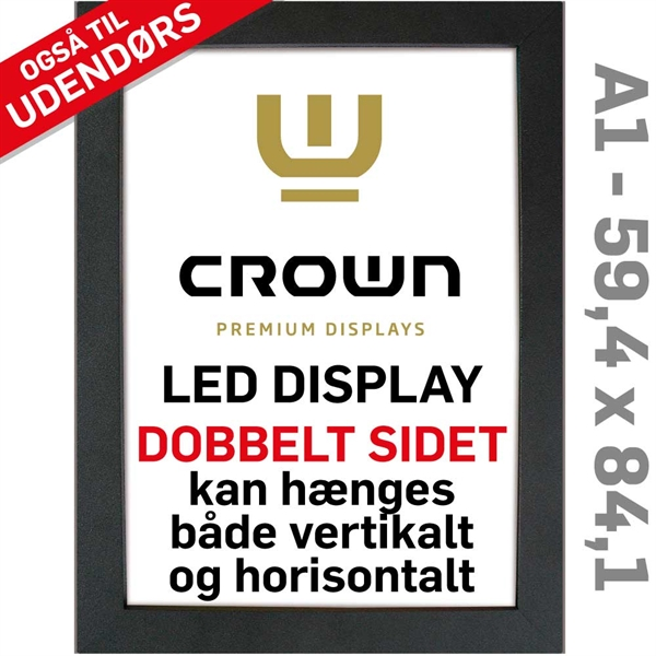 Image of   CROWN LED Out box - Dobbeltsidet - Sort/Alu - 59,4 x 84,1 cm A1