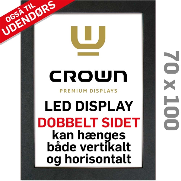 Image of   CROWN LED Out box - Dobbeltsidet - Sort/Alu - 70 x 100 cm