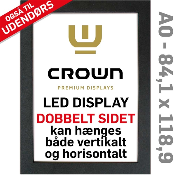 Image of   CROWN LED Out box - Dobbeltsidet - Sort/Alu - 84,1 x 118,9 cm