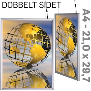 LED Light Box - 25 mm -Dobbeltsidet - Vertikal - Alu - 21 x 29,7 cm A4