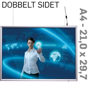 LED Light Box - 25 mm -Dobbeltsidet - Horisontal - Alu - 21 x 29,7 cm A4
