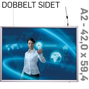 LED Light Box - 25 mm -Dobbeltsidet - Horisontal - Alu - 42 x 59,4 cm A2