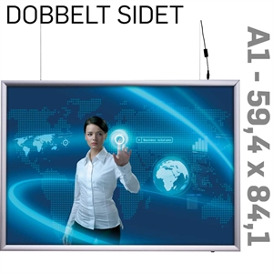 LED Light Box - 25 mm -Dobbeltsidet - Horisontal - Alu - 59,4 x 84,1 cm A1