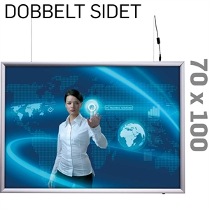 LED Light Box - 25 mm - Dobbeltsidet - Horisontal - Alu - 70 x 100 cm