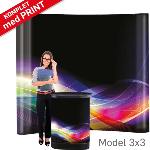 Pop-Up Wall Curved Sort - 3 sektioner, B258 x H228 cm MED print