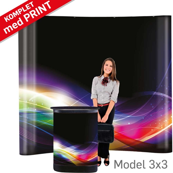 Pop-Up Wall Straight Sort - 3 sektioner, B280 x H228 cm MED print