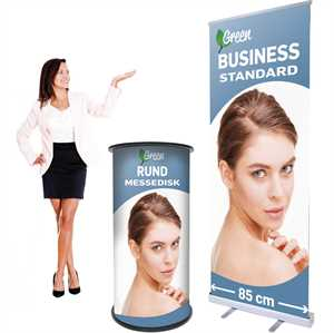Rund messedisk & 85 cm Roll-Up med print