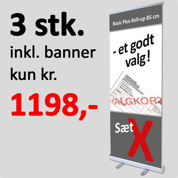 Image of 3 stk Roll-Up med print & banner - 85 cm Basic PLUS