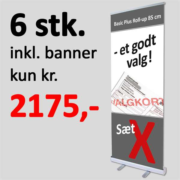 Image of   6 stk Roll-Up med print & banner - 85 cm Basic PLUS