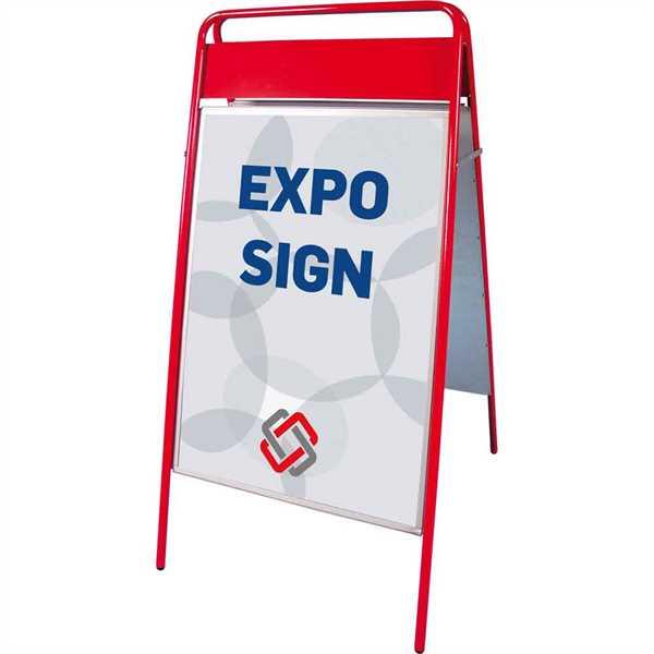 Expo Sign Standard gadeskilt med logoplade Rød - Poster: A1 - 59,4 x 84,1 cm