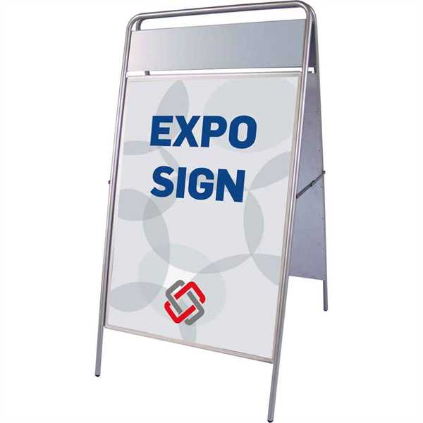 Expo Sign Standard gadeskilt med logoplade Sølv - Poster: 70 x 100 cm
