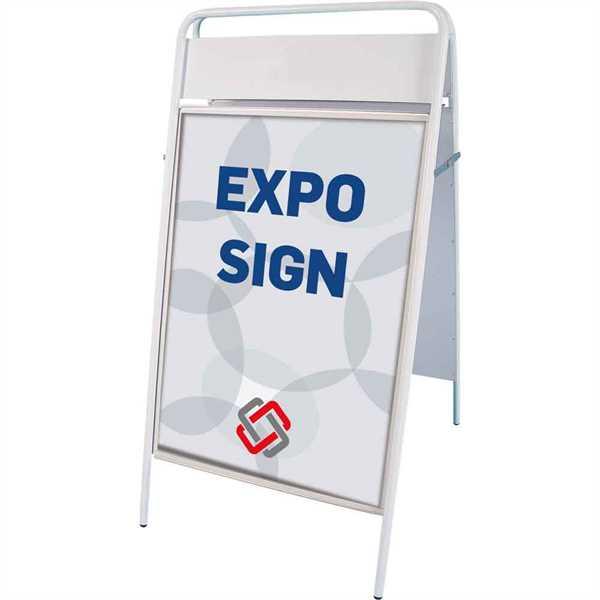 Image of   Expo Sign Standard gadeskilt med logoplade Hvid - Poster: 50 x 70 cm