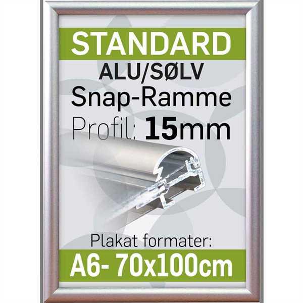 Billede af Alu Snap-Frame, væg, 15 mm Alu/elox. - Poster: 70 x 100 cm