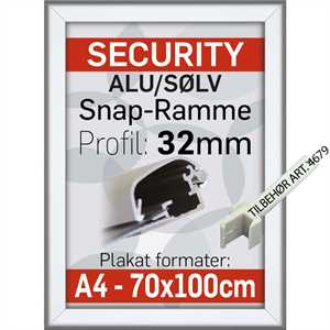 SECURITY FRAME VÆG 32 mm Alu/elox. - A2 - 42 x 59,4 cm