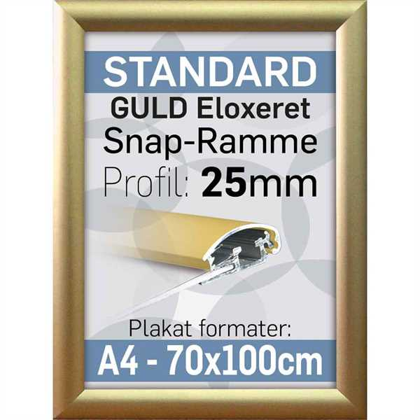 Snap ramme m 25 mm Alu profil - Guldeloxeret - Poster: A2 - 42 x 59,4 cm