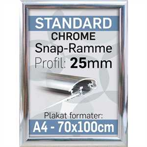 Snap Ramme 25 mm profil - Krom