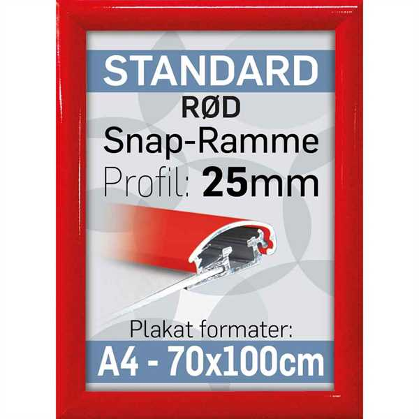 Alu Snap-Frame Rød 25 mm