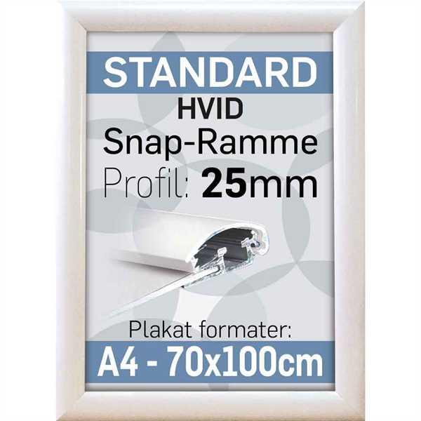 Image of Alu Billedramme i 25 mm profil - Hvid - Poster: A3 - 29,7 x 42 cm