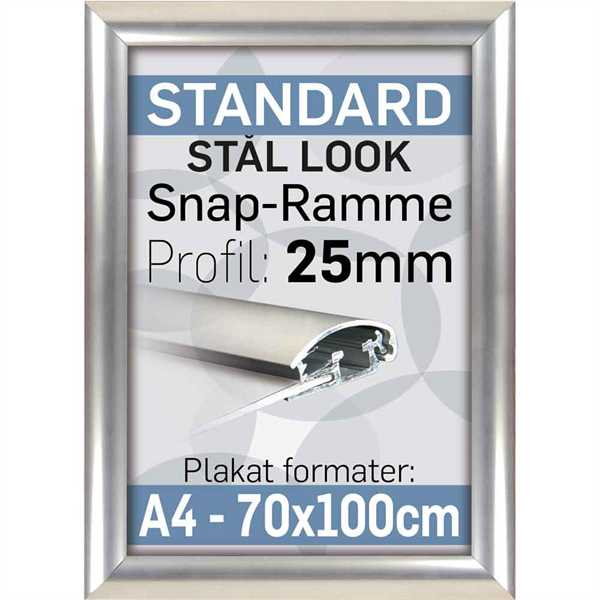 Klapramme 25 mm Aluprofil Stainless steel look