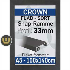 CROWN klap ramme sort, 33 mm profil - A3 - 29,7 x 42 cm